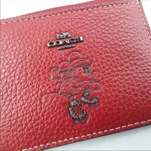 Coach Accessories - Coach Disney ID Wallet Red Minnie Mouse NWT